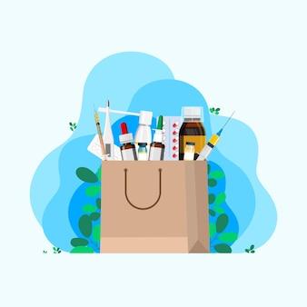 Beutel aus einer apotheke mit medikamenten gegen hals, erkältungsmittel, thermometer, pillen, spritze zur injektion