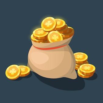 Beutel mit goldmünzen. geldsack für die spieloberfläche.