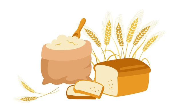 Beutel mit mehl und weizenähren, geschnittenes brot, cartoon. bäckerei haufen mehl, goldkorn ährchen