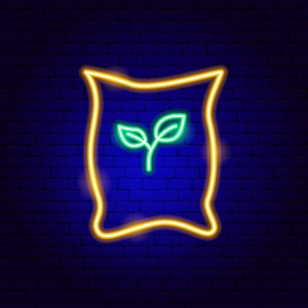 Beutel mit samen leuchtreklame. vektor-illustration der gartenförderung.