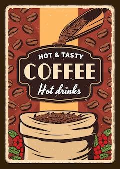 Beutel und schaufel mit gerösteten kaffeebohnen