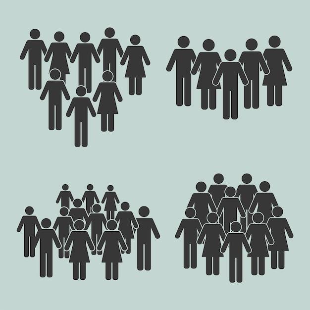 Bevölkerung silhouetten vier symbole