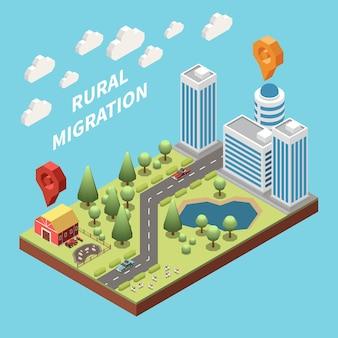 Bevölkerungsmobilität migration vertreibung isometrische zusammensetzung