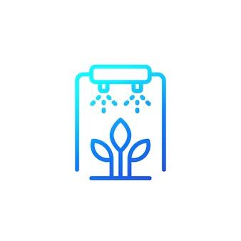 Bewässerung, bewässerung von pflanzen liniensymbol auf weiß
