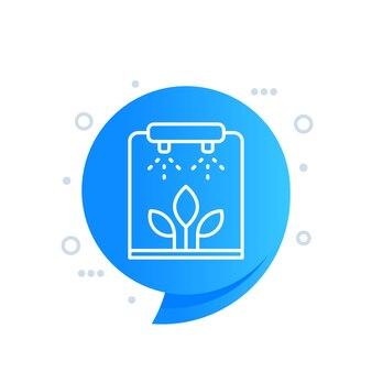 Bewässerung, bewässerung von pflanzen liniensymbol für web