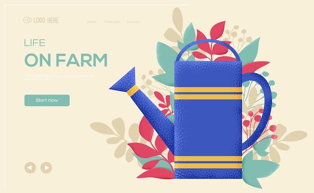 Bewässerung kann konzept flyer, web-banner, ui-header, website eingeben. kornstruktur und geräuscheffekt.
