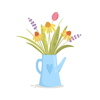 Bewässerung kann vase mit blumen, karikaturillustration