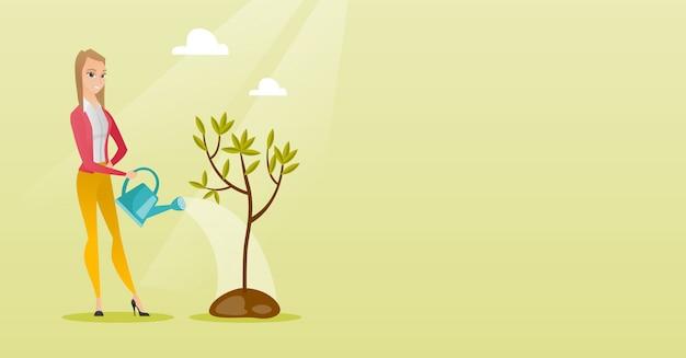 Bewässerungsbaum-vektorillustration der frau.