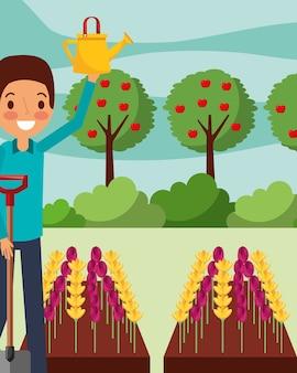 Bewässerungsblumen des mannkarikatur mit der schaufelgartenarbeit