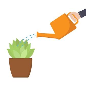Bewässerungspflanze pflanzenwachstum vektor-illustration auf weißem hintergrund