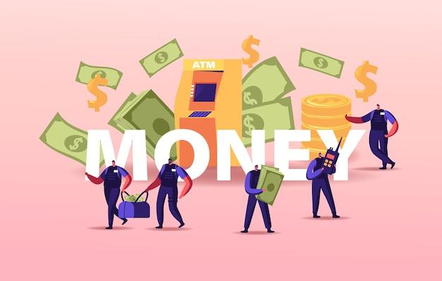 Bewaffnete cash-in-transit-wachcharaktere tragen taschen am geldautomaten oder am geldwechselamt.