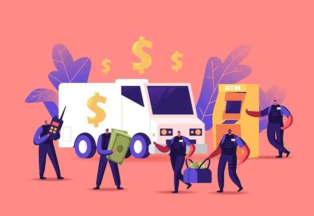 Bewaffnete geld-in-transit-wächter-charaktere-sammler tragen taschen von geldautomaten oder wechselstuben. sammeln von bargeld für den transport zur bank, konvoi-job-konzept. cartoon-menschen-vektor-illustration