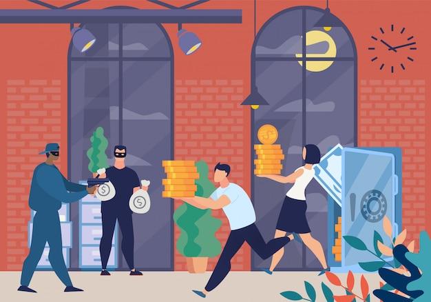 Bewaffnete räuber in maskenfiguren, die bank erzwingen