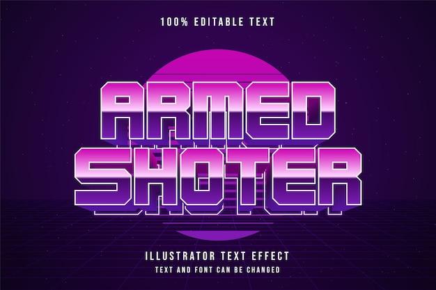 Bewaffneter schütze bearbeitbarer texteffekt blaue abstufung rosa neontextstil