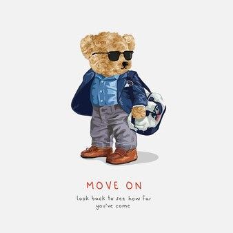 Bewegen sie den slogan mit der bärenpuppe in der sonnenbrille mit der sporttaschevektorillustration weiter