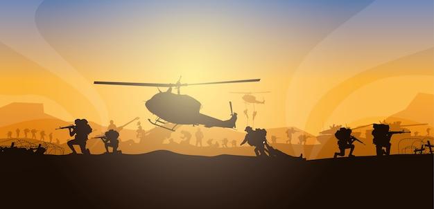 Bewegende verletzte person, militärische illustration, armeehintergrund, soldatenschattenbilder, artillerie, kavallerie, in der luft, armeemedizin.