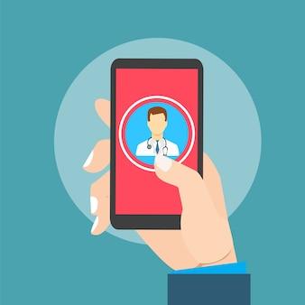 Bewegliche gesundheit mit der handhand, die smartphone hält