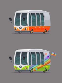 Beweglicher hippie-trailer. retro autos eingestellt. cartoon-stil.
