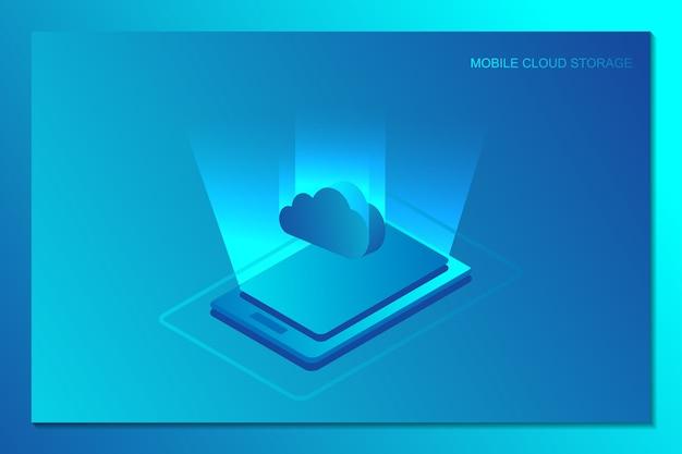 Beweglicher wolkenspeicher für isometrischen hintergrund der internet-datenübertragung