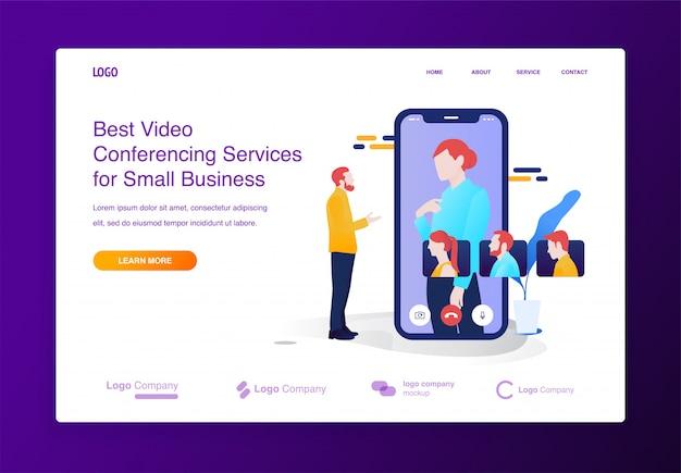 Bewegliches videokonferenzillustrationskonzept für website oder landungsseite