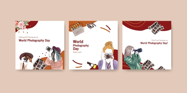 Bewerben sie vorlagenentwurf mit weltfotografietag für broschüre und broschüre