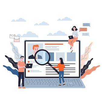 Bewerber. idee einer anstellung und eines vorstellungsgesprächs. rekrutierungsmanager suchen. web-banner. illustration