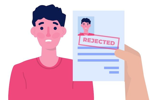 Bewerbung abgelehnt dokument papier. illustration