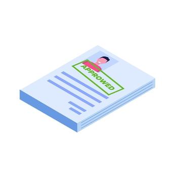 Bewerbung genehmigtes dokumentpapier. isometrische darstellung