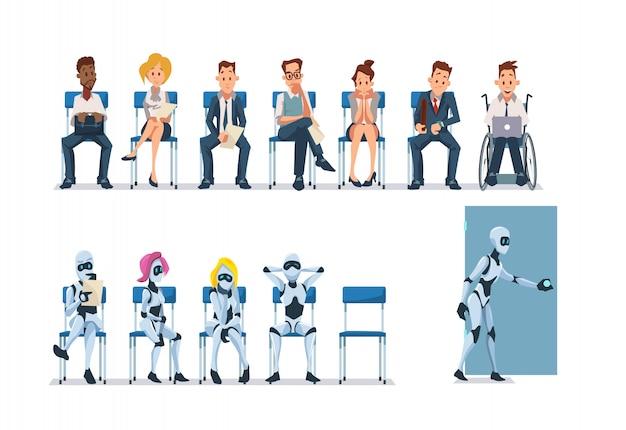 Bewerbungsgespräch und roboter. vektor.