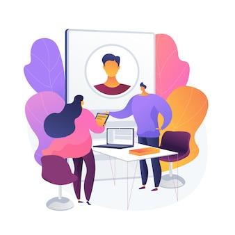 Bewerbungsgesprächsprozess. neue mitarbeiter einstellen. hr-spezialist zeichentrickfigur im gespräch mit neuen kandidaten. rekrutierung, beschäftigung, headhunting.