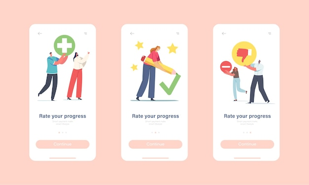 Bewerten sie ihre onboard-bildschirmvorlage für die progress mobile app-seite