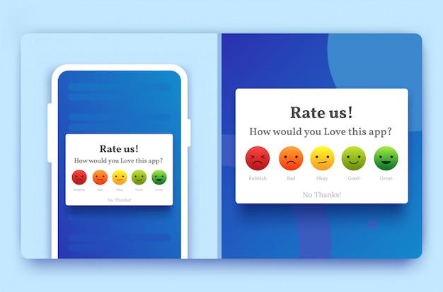 Bewerten sie uns feedback-popup für handys in blauer farbe mit emoji von schlecht, gut, glücklich und durchschnittlich