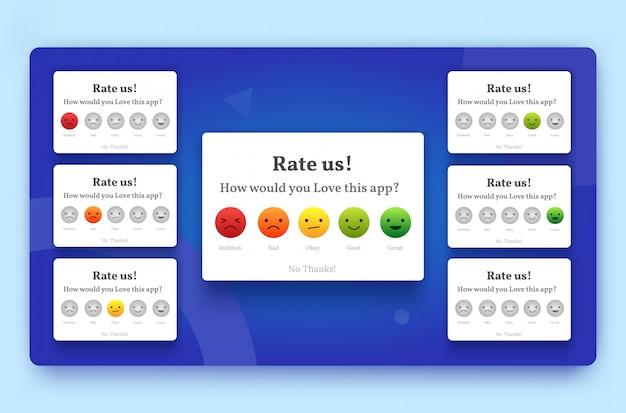 Bewerten sie uns feedback-popup-set mit schlecht, okay, gut und großartig emoji
