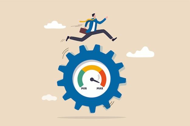 Bewertung der arbeitsleistung, volle effizienz oder maximale produktivität
