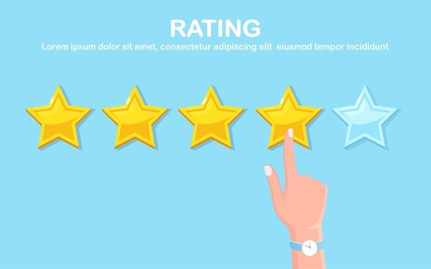 Bewertung in sternen. kundenfeedback, kundenbewertung. umfrage für marketingdienstleistungen.