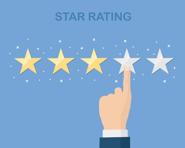 Bewertung in sternen. kundenfeedback, kundenbewertung. umfrage für marketingdienstleistungen