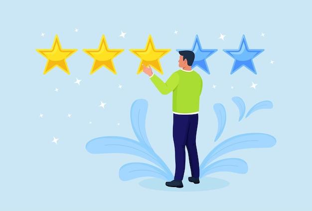 Bewertung in sternen. kundenfeedback, kundenrezension. umfrage für marketingservice