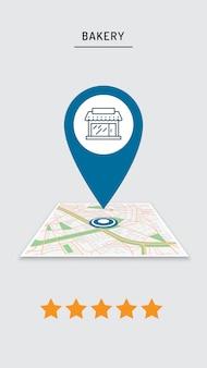 Bewertung von café, restaurant, geschäft, pin auf dem stadtplan in der mobilen anwendung