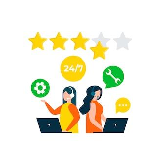Bewertung von kundenfeedback kundenberatung hotline technischer support callcenter-verarbeitung