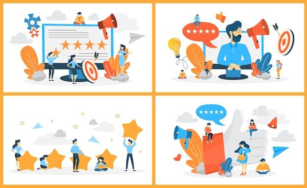 Bewertung web-banner-set. idee des feedbacks