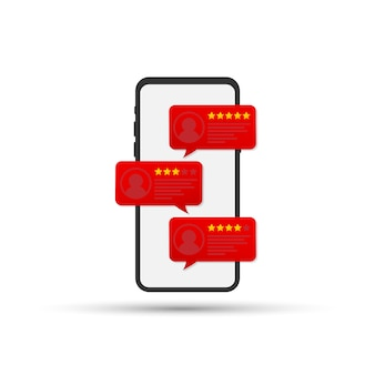 Bewertungsblasenreden auf handyvektorillustration, flacher art smartphone wiederholt sterne mit guter und schlechter rate