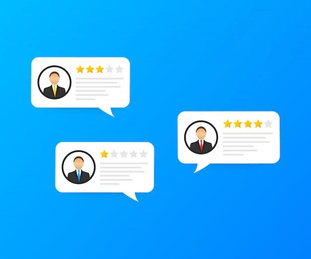 Bewertungsblasenreden, bewertungssterne mit guter und schlechter bewertung und text, konzept von zeugnismitteilungen.