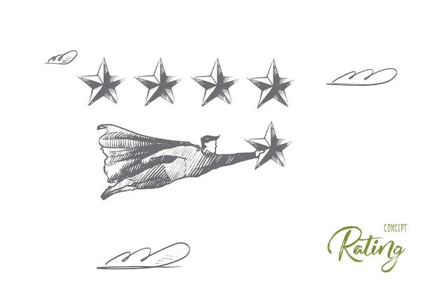 Bewertungskonzept. handgezeichneter superheld mit 5. stern, was sieg und bestes ergebnis bedeutet. fliegender mann hält bewertungsstern isolierte illustration.