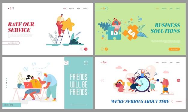 Bewertungsservice, kreative idee, büroarbeit, landing page der zeitmanagement-website