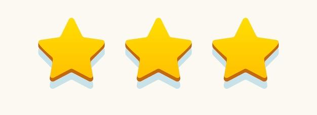 Bewertungssterne goldfarben realistischer stil für die überprüfung und bewertung des bewertungsniveaus der feedback-zufriedenheitsstufe