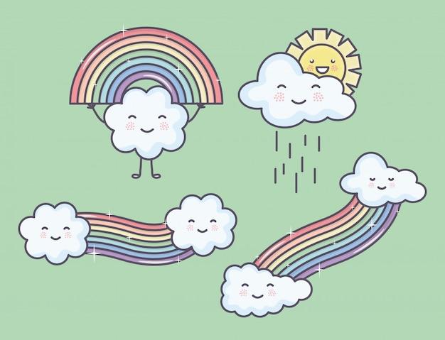 Bewölkt himmel mit regenbogen- und sonne kawaii charakteren