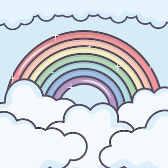 Bewölkt himmel mit regenbogenwetter