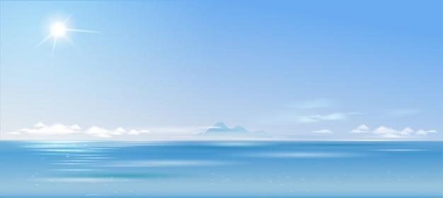 Bewölkte landschaft des hintergrundes über dem meer und