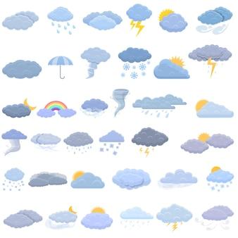 Bewölkte wettersymbole eingestellt. karikaturensatz der wolkigen wettersymbole für webdesign