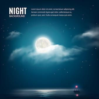 Bewölkter himmel des nachtnaturhintergrundes mit sternen, mond und ruhigem see mit leuchtfeuer.
